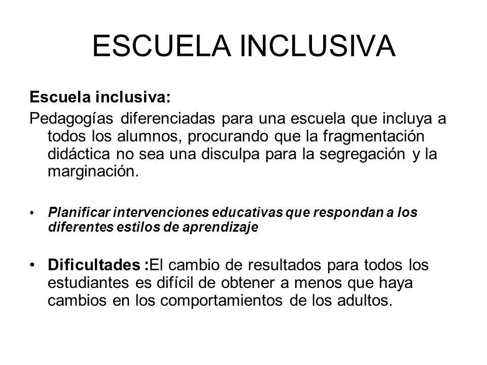 ESCUELA INCLUSIVA Escuela inclusiva: