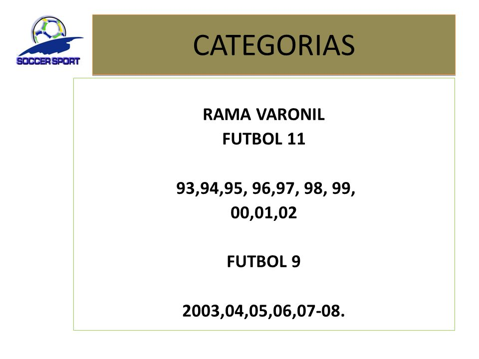 CATEGORIAS RAMA VARONIL FUTBOL 11 93,94,95, 96,97, 98, 99, 00,01,02