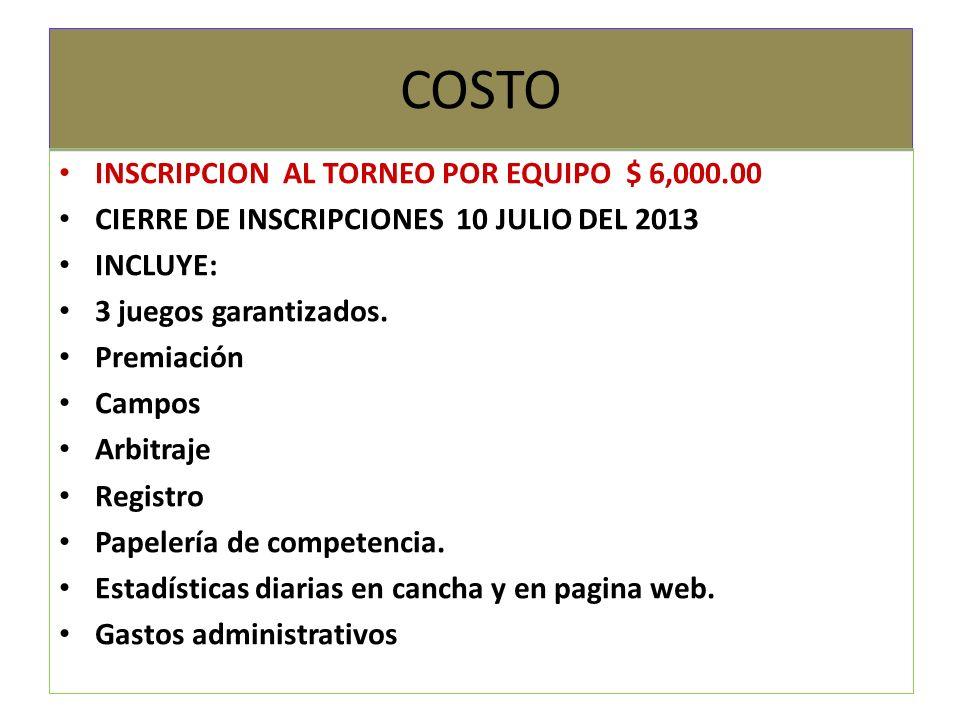 COSTO INSCRIPCION AL TORNEO POR EQUIPO $ 6,000.00