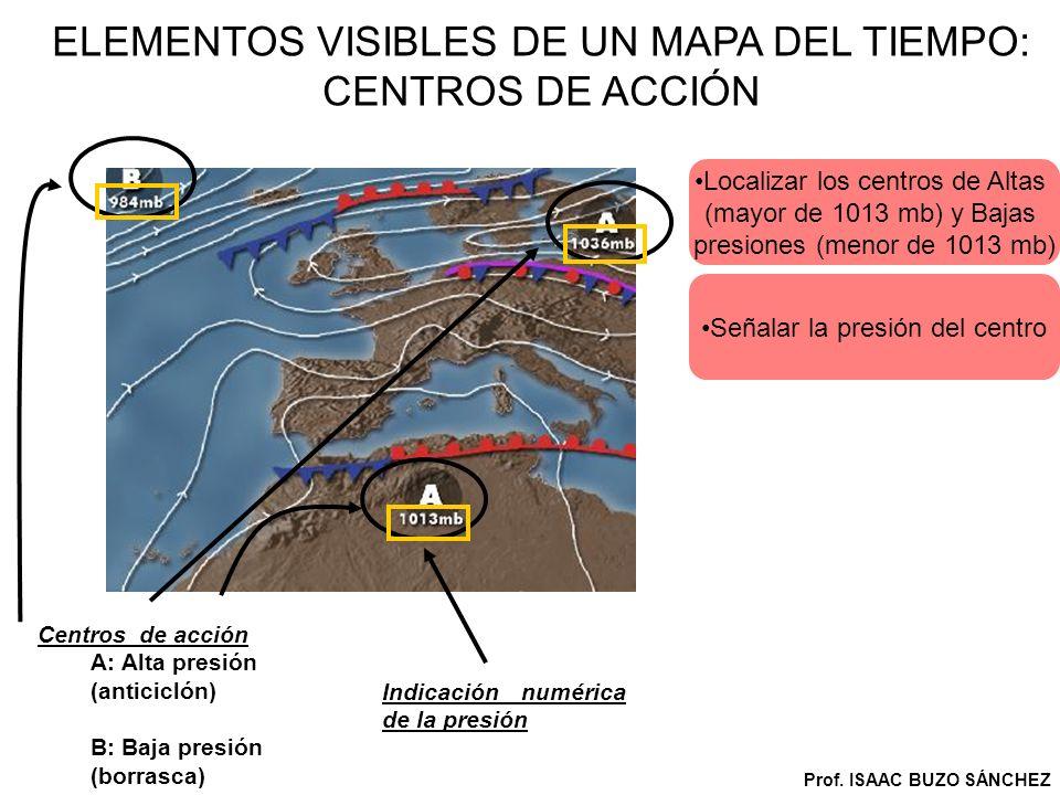 ELEMENTOS VISIBLES DE UN MAPA DEL TIEMPO: CENTROS DE ACCIÓN