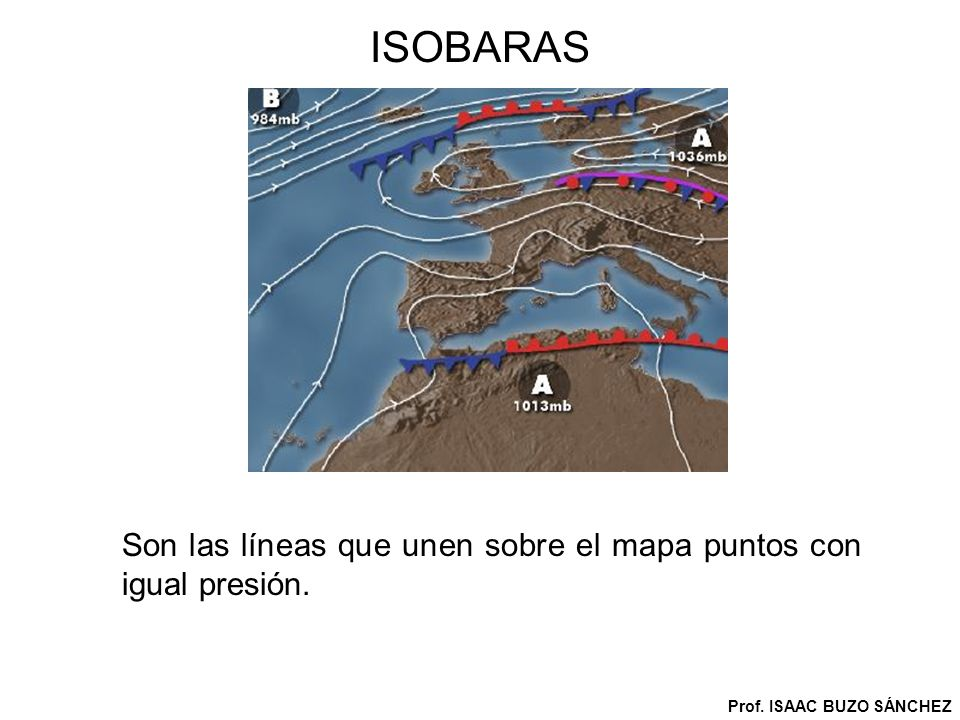 ISOBARAS Son las líneas que unen sobre el mapa puntos con igual presión. Prof. ISAAC BUZO SÁNCHEZ