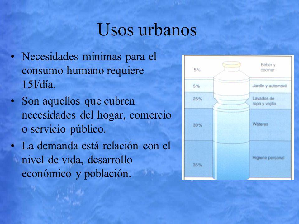 Usos urbanos Necesidades mínimas para el consumo humano requiere 15l/día.