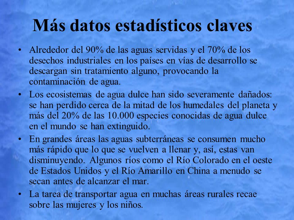 Más datos estadísticos claves