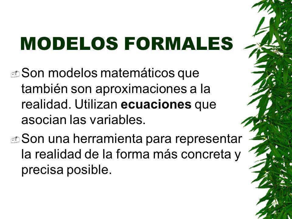 MODELOS FORMALES Son modelos matemáticos que también son aproximaciones a la realidad. Utilizan ecuaciones que asocian las variables.