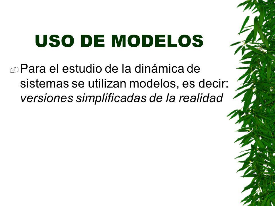 USO DE MODELOS Para el estudio de la dinámica de sistemas se utilizan modelos, es decir: versiones simplificadas de la realidad.