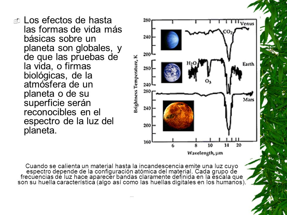 Los efectos de hasta las formas de vida más básicas sobre un planeta son globales, y de que las pruebas de la vida, o firmas biológicas, de la atmósfera de un planeta o de su superficie serán reconocibles en el espectro de la luz del planeta.