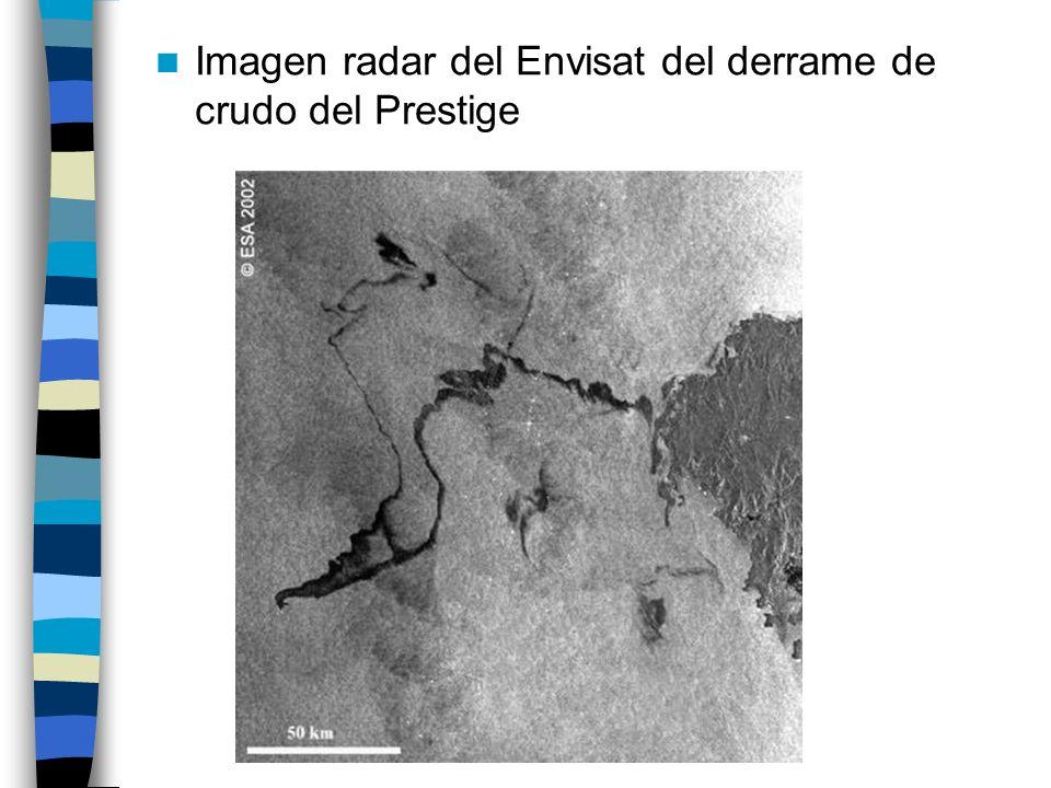 Imagen radar del Envisat del derrame de crudo del Prestige