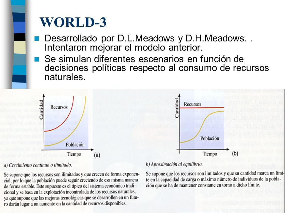 WORLD-3 Desarrollado por D.L.Meadows y D.H.Meadows. . Intentaron mejorar el modelo anterior.