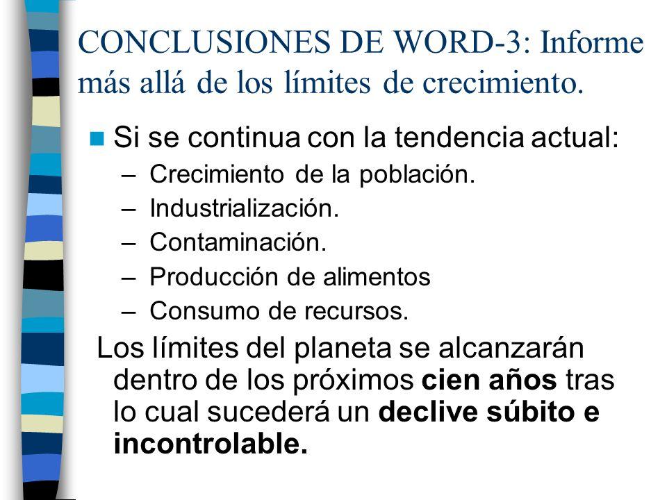 CONCLUSIONES DE WORD-3: Informe más allá de los límites de crecimiento.