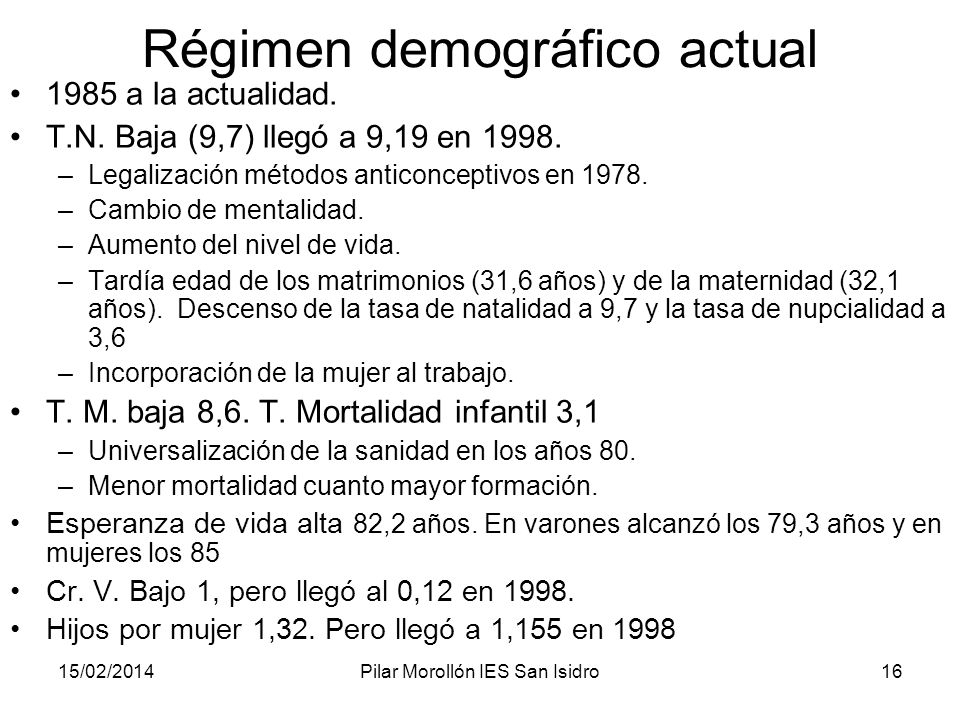 Régimen demográfico actual