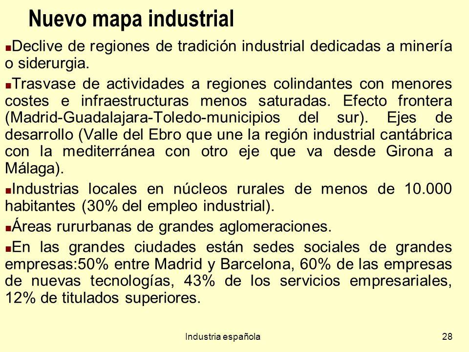 Nuevo mapa industrial Declive de regiones de tradición industrial dedicadas a minería o siderurgia.