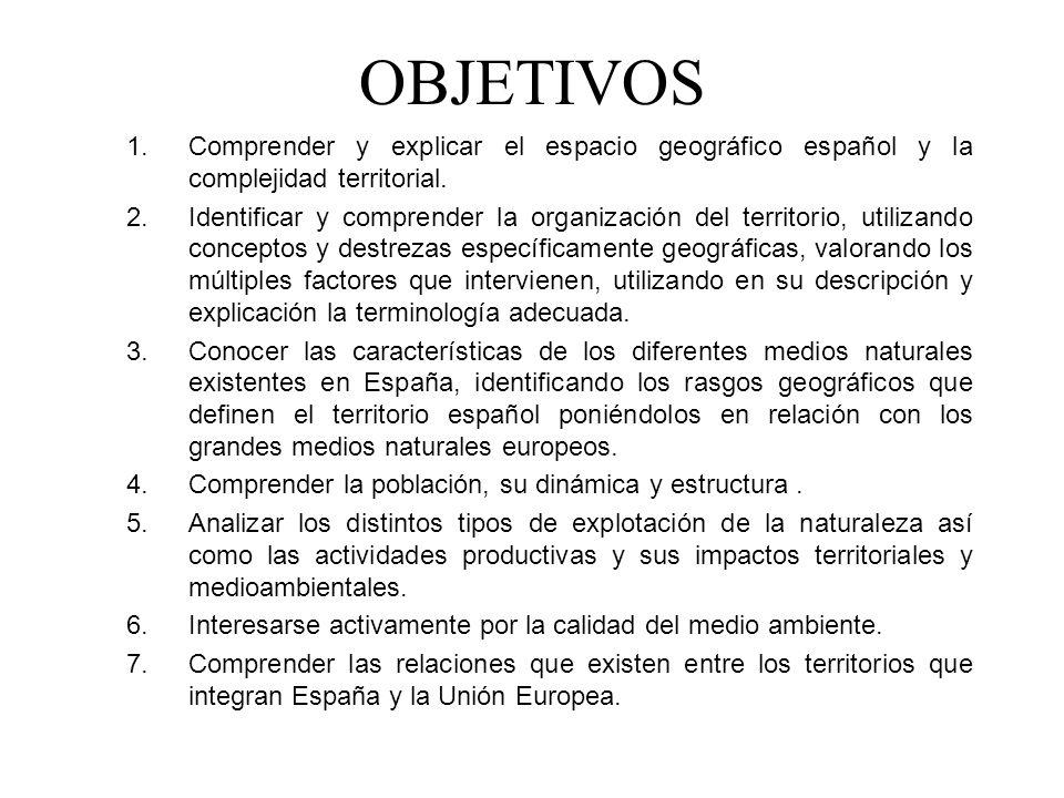 OBJETIVOS Comprender y explicar el espacio geográfico español y la complejidad territorial.