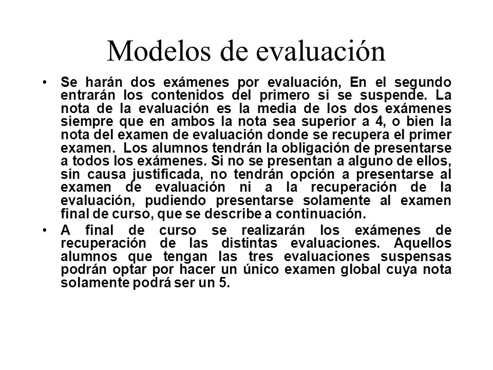 Modelos de evaluación
