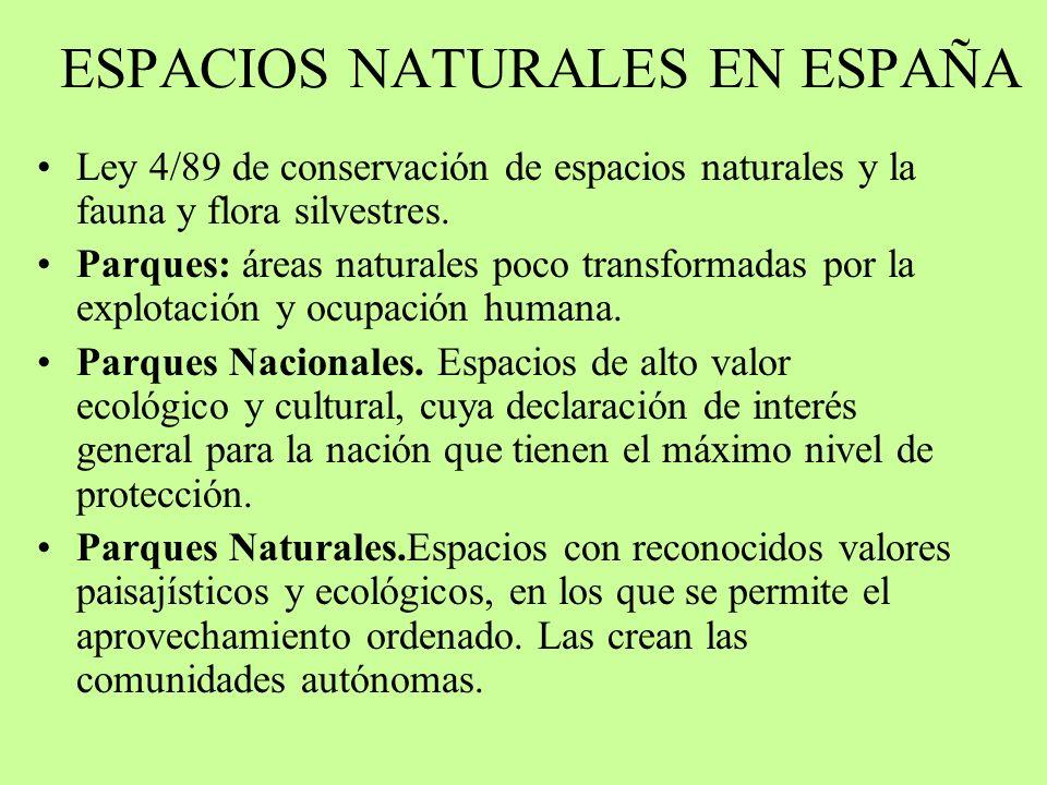 ESPACIOS NATURALES EN ESPAÑA