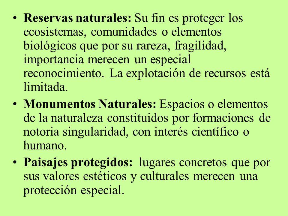 Reservas naturales: Su fin es proteger los ecosistemas, comunidades o elementos biológicos que por su rareza, fragilidad, importancia merecen un especial reconocimiento. La explotación de recursos está limitada.