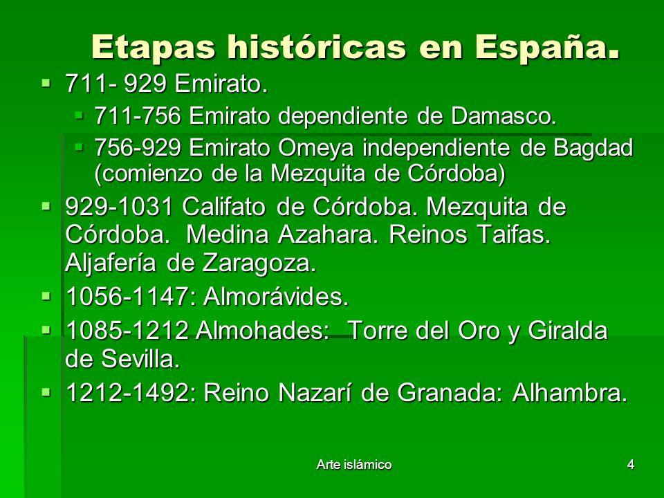 Etapas históricas en España.
