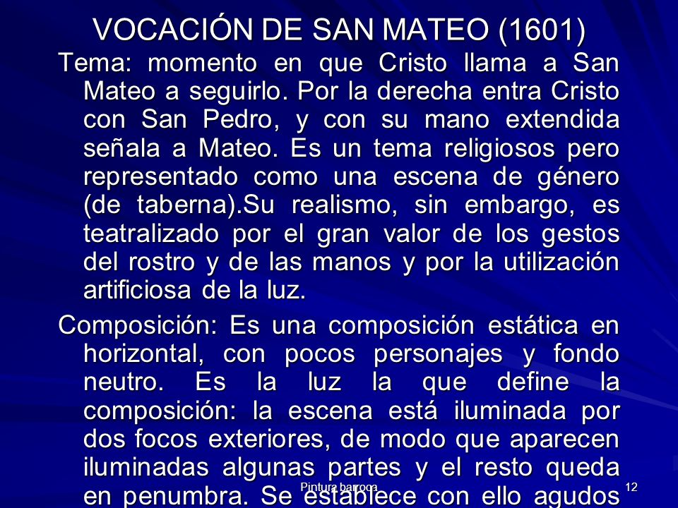 VOCACIÓN DE SAN MATEO (1601)