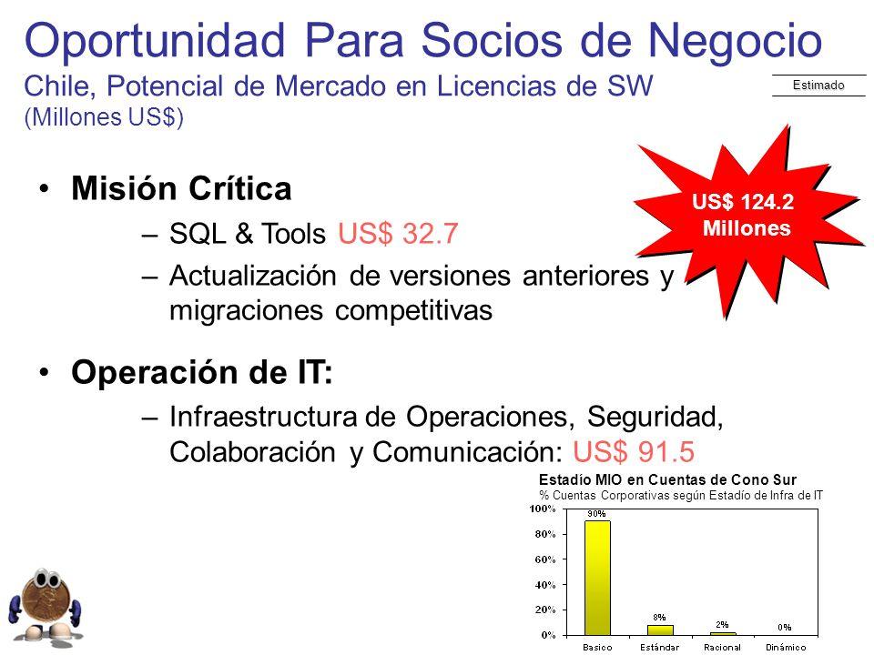 Oportunidad Para Socios de Negocio Chile, Potencial de Mercado en Licencias de SW (Millones US$)