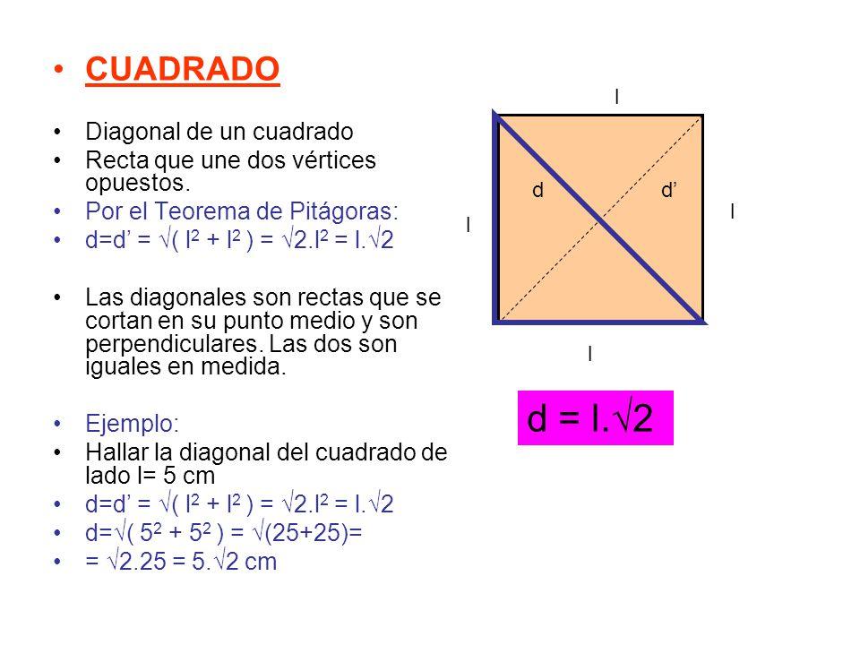 d = l.√2 CUADRADO Diagonal de un cuadrado