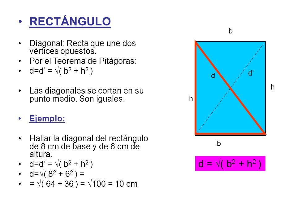 RECTÁNGULO Diagonal: Recta que une dos vértices opuestos. Por el Teorema de Pitágoras: d=d' = √( b2 + h2 )