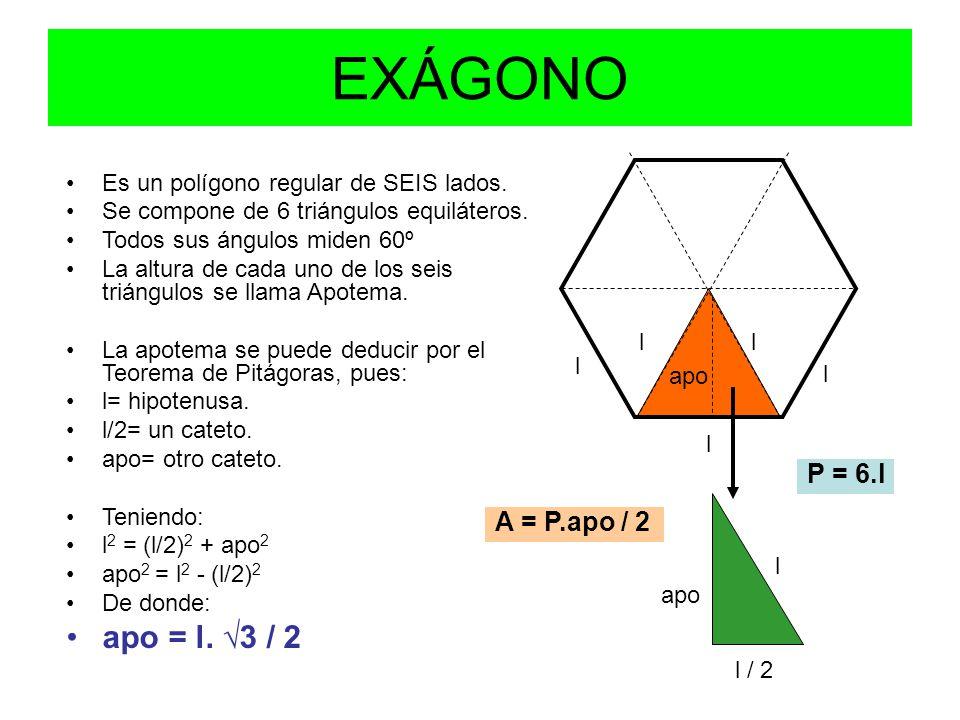 EXÁGONO apo = l. √3 / 2 P = 6.l A = P.apo / 2