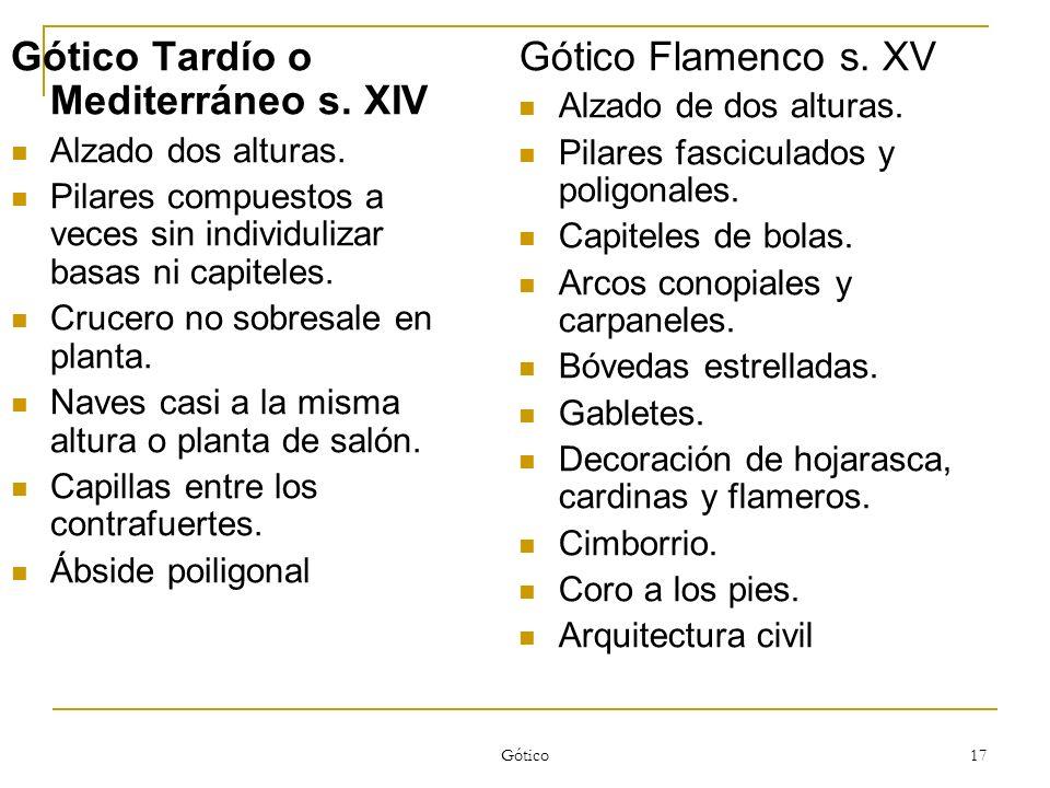 Gótico Tardío o Mediterráneo s. XIV Gótico Flamenco s. XV