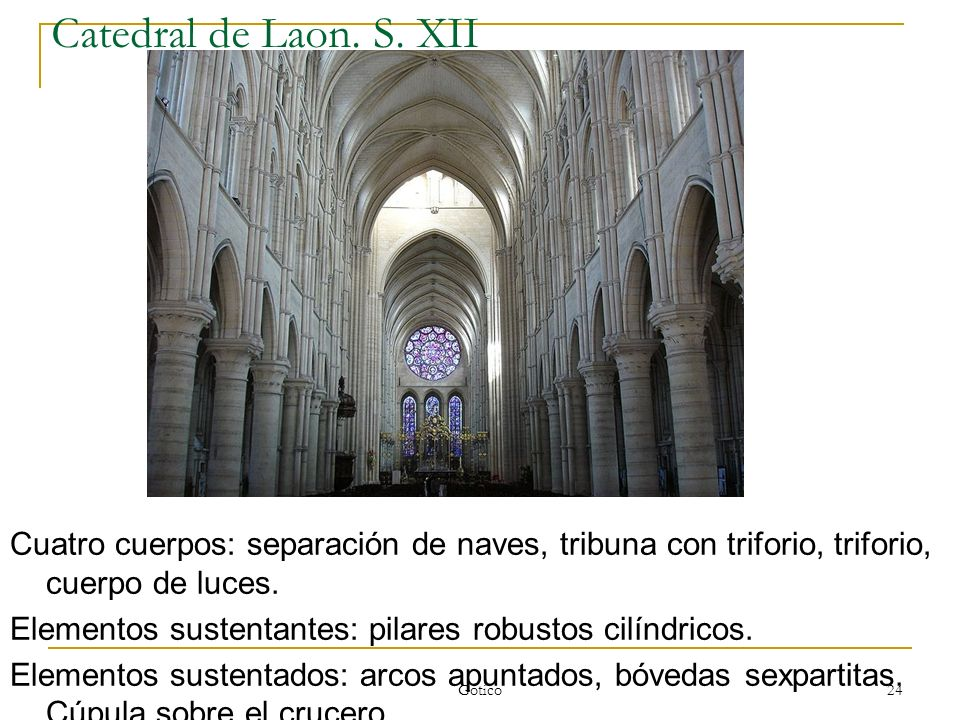 Catedral de Laon. S. XII Cuatro cuerpos: separación de naves, tribuna con triforio, triforio, cuerpo de luces.