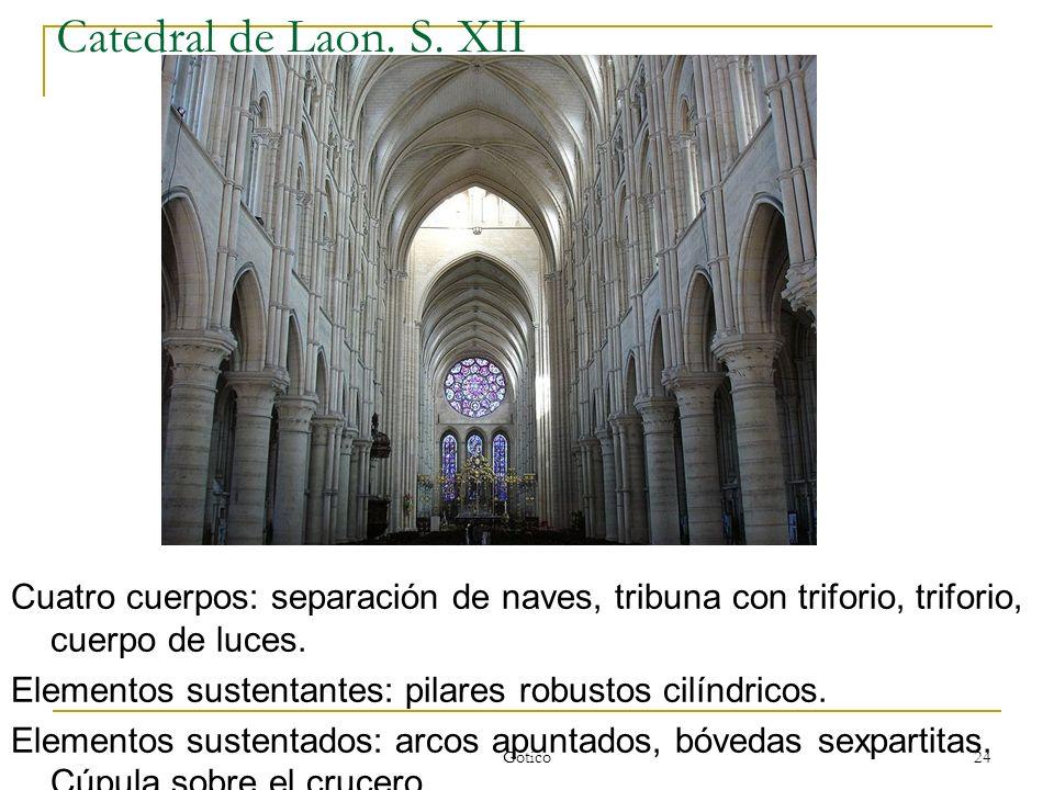 Catedral de Laon. S. XIICuatro cuerpos: separación de naves, tribuna con triforio, triforio, cuerpo de luces.