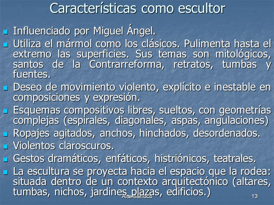 Características como escultor