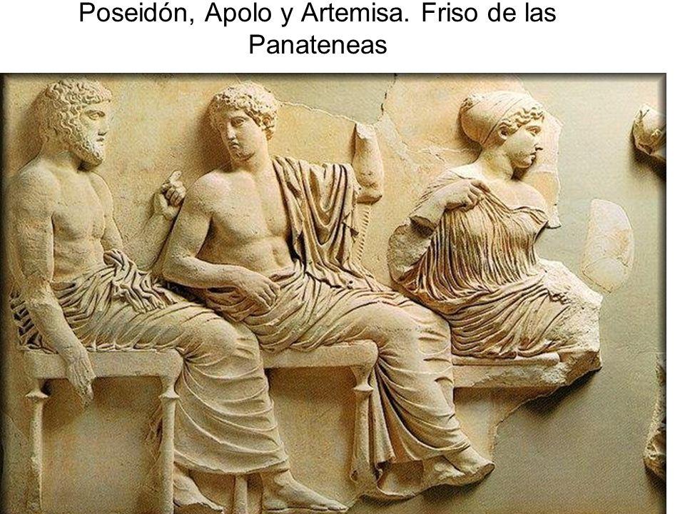 Poseidón, Apolo y Artemisa. Friso de las Panateneas