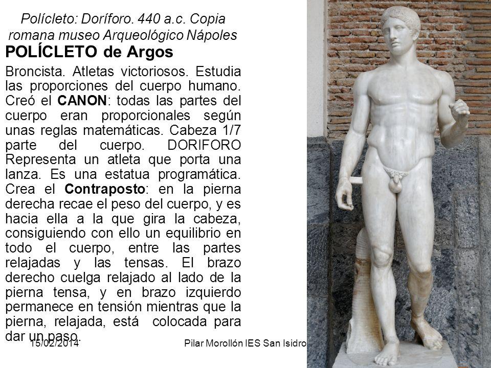 Polícleto: Doríforo. 440 a.c. Copia romana museo Arqueológico Nápoles