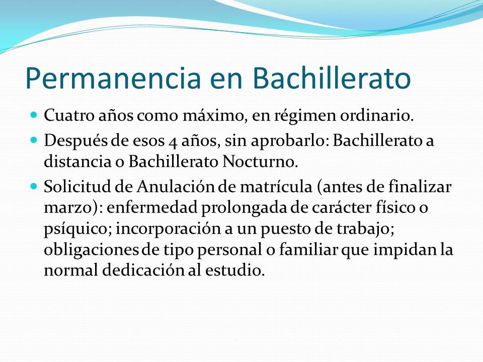 Permanencia en Bachillerato