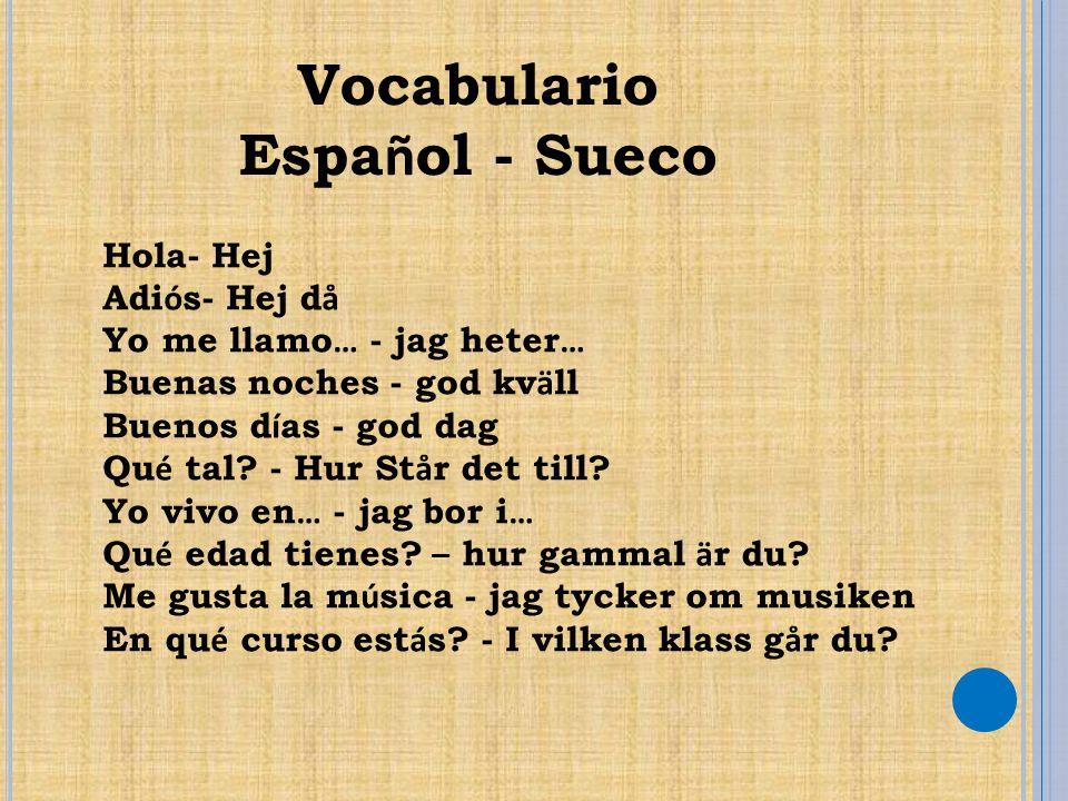 Vocabulario Español - Sueco