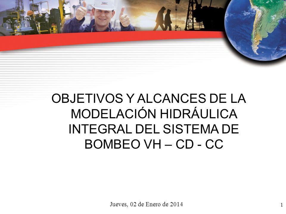 jueves, 23 de marzo de 2017 OBJETIVOS Y ALCANCES DE LA MODELACIÓN HIDRÁULICA INTEGRAL DEL SISTEMA DE BOMBEO VH – CD - CC.