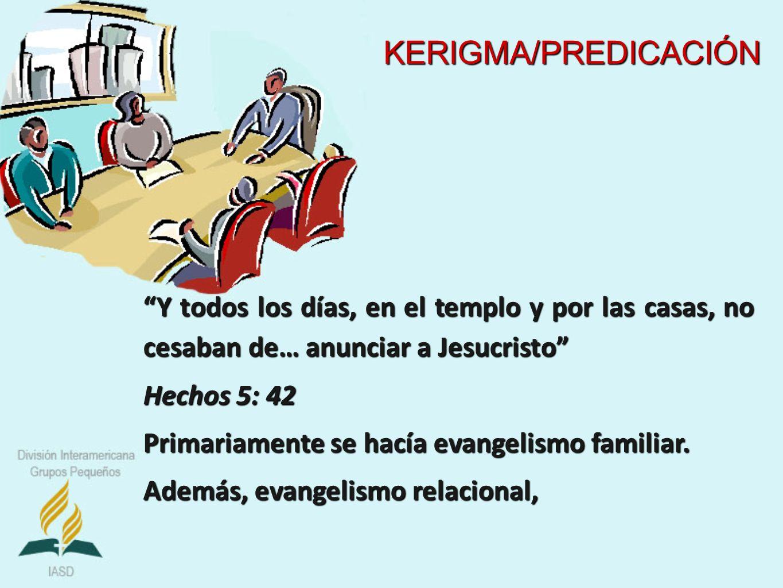 KERIGMA/PREDICACIÓN Y todos los días, en el templo y por las casas, no cesaban de… anunciar a Jesucristo