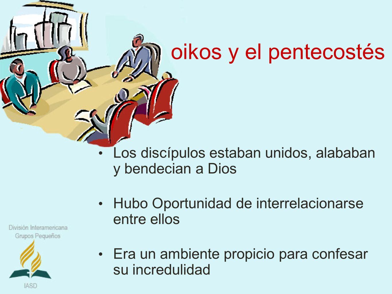 oikos y el pentecostés Los discípulos estaban unidos, alababan y bendecian a Dios. Hubo Oportunidad de interrelacionarse entre ellos.