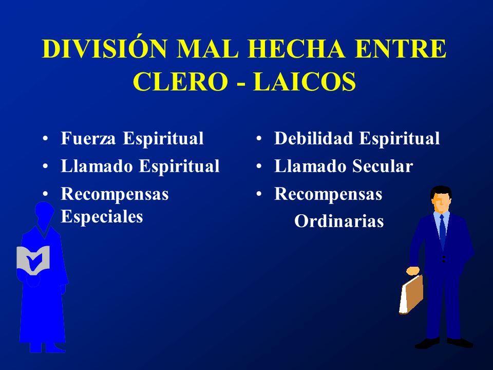 DIVISIÓN MAL HECHA ENTRE CLERO - LAICOS