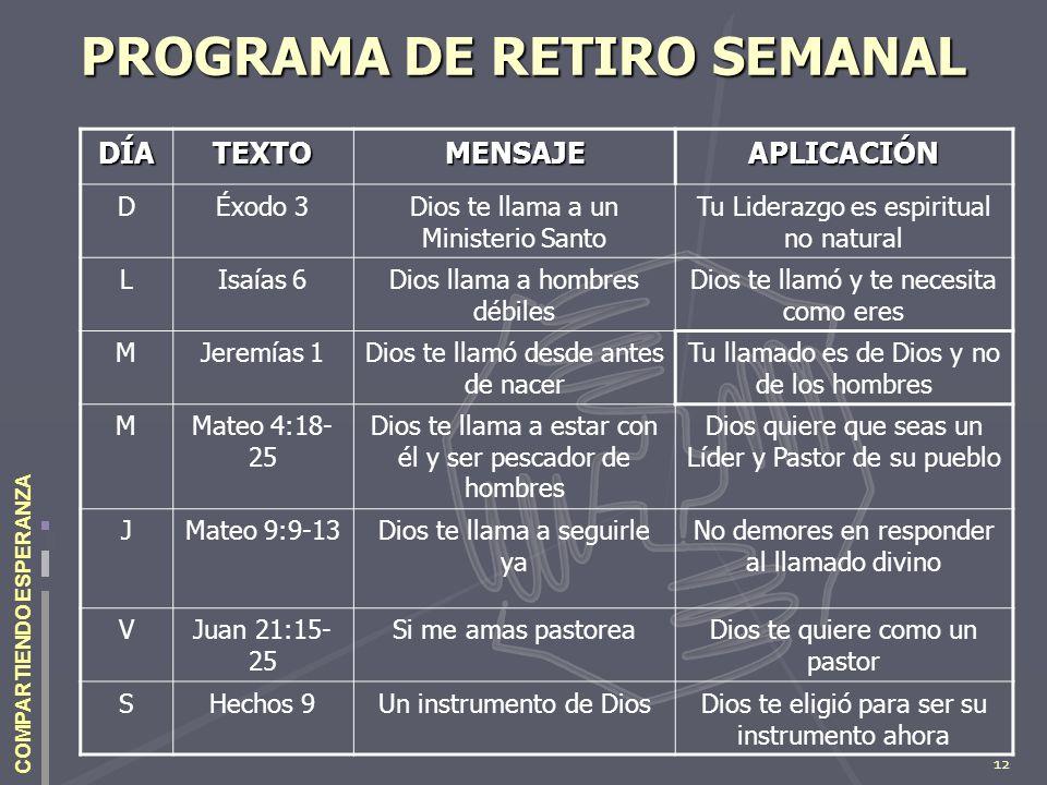 PROGRAMA DE RETIRO SEMANAL