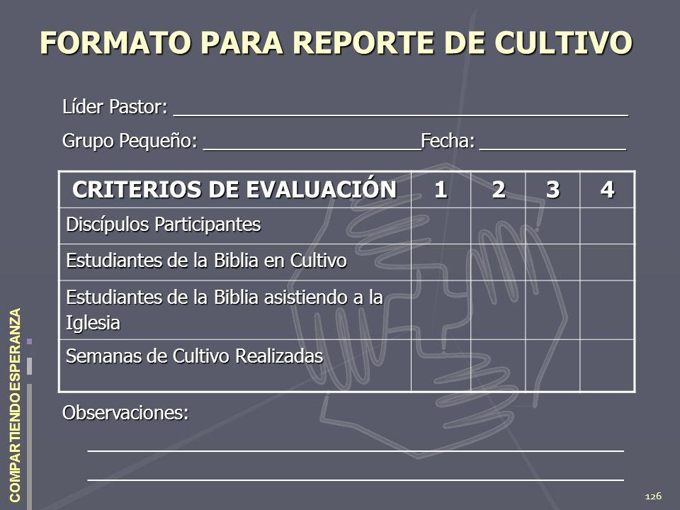 FORMATO PARA REPORTE DE CULTIVO