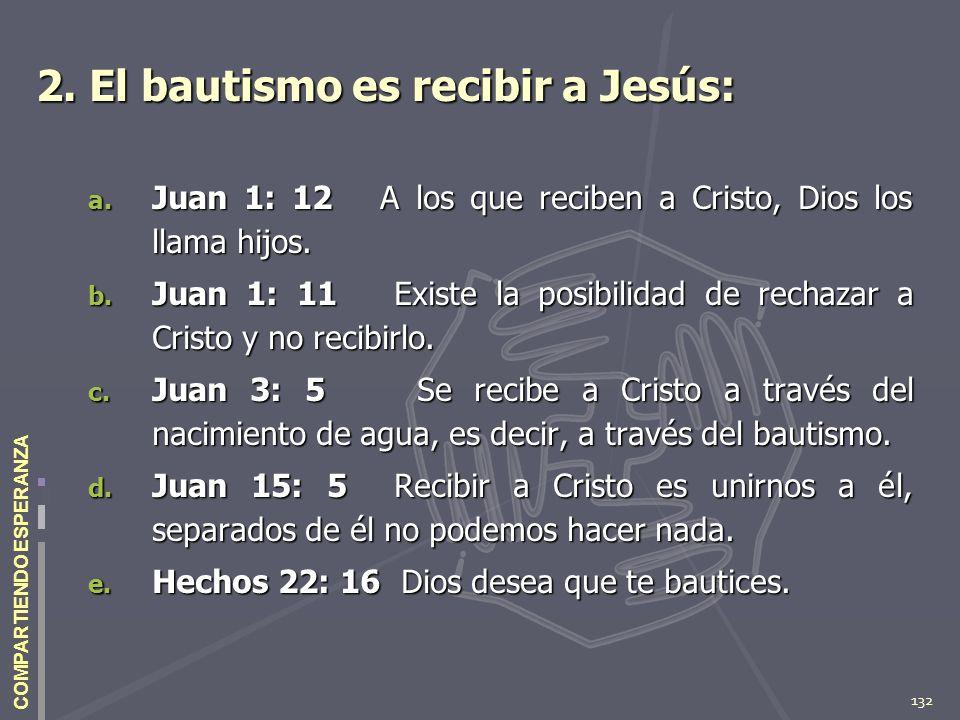 2. El bautismo es recibir a Jesús: