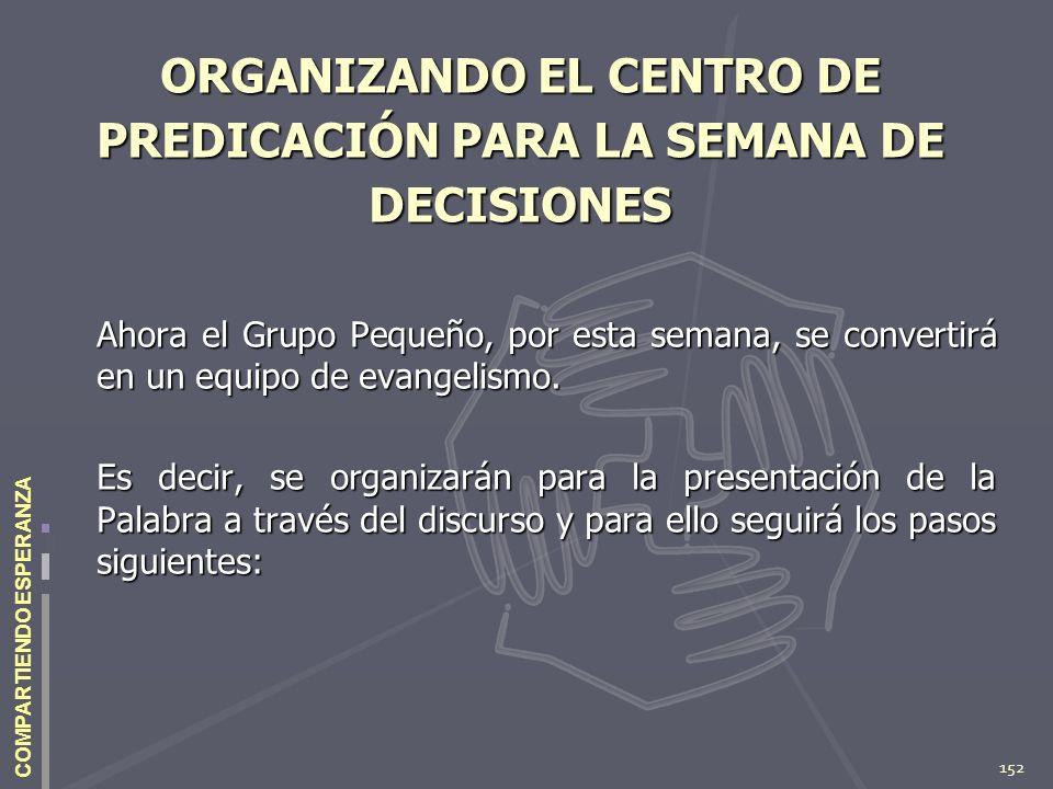 ORGANIZANDO EL CENTRO DE PREDICACIÓN PARA LA SEMANA DE DECISIONES