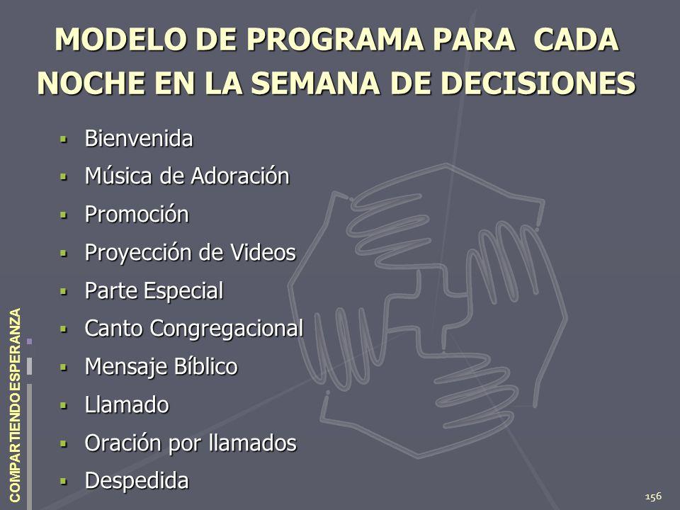 MODELO DE PROGRAMA PARA CADA NOCHE EN LA SEMANA DE DECISIONES