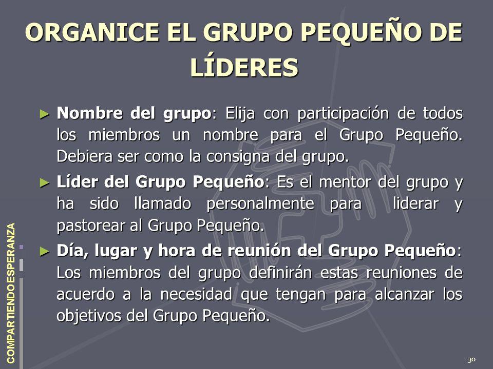 ORGANICE EL GRUPO PEQUEÑO DE LÍDERES