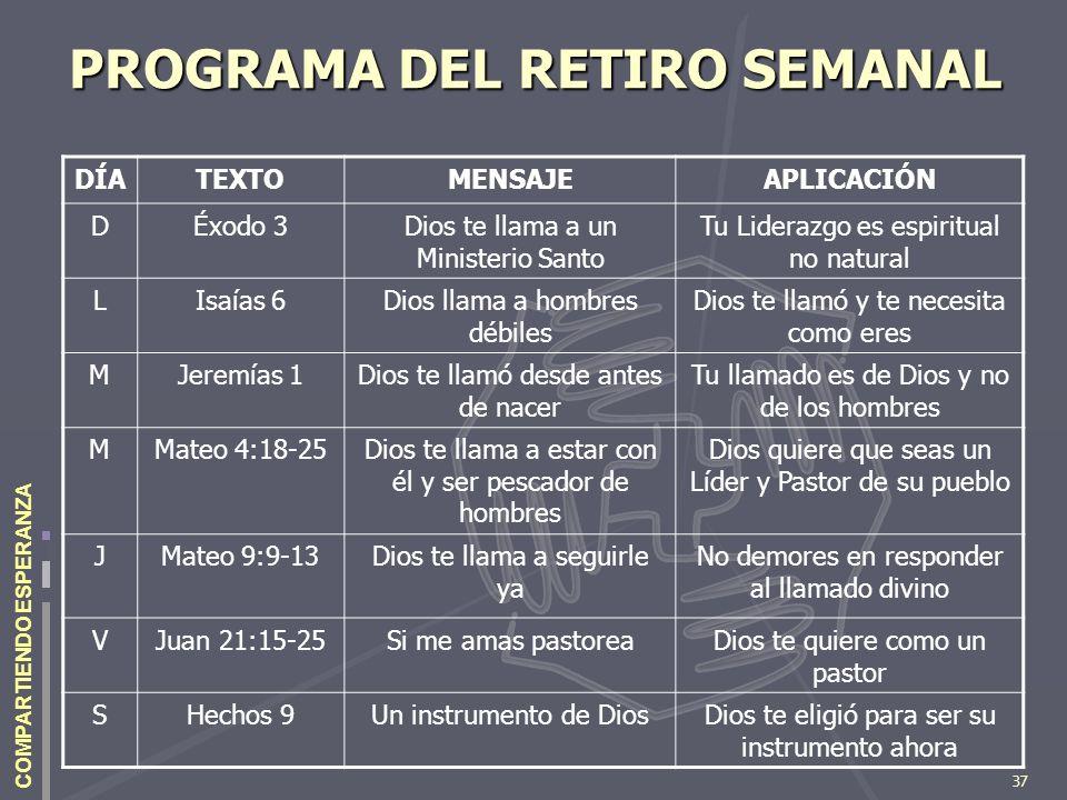 PROGRAMA DEL RETIRO SEMANAL