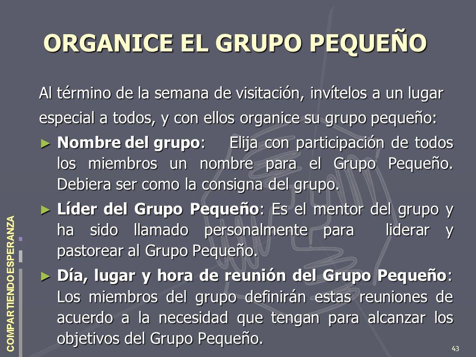 ORGANICE EL GRUPO PEQUEÑO