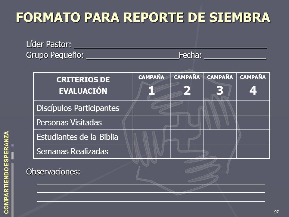 FORMATO PARA REPORTE DE SIEMBRA