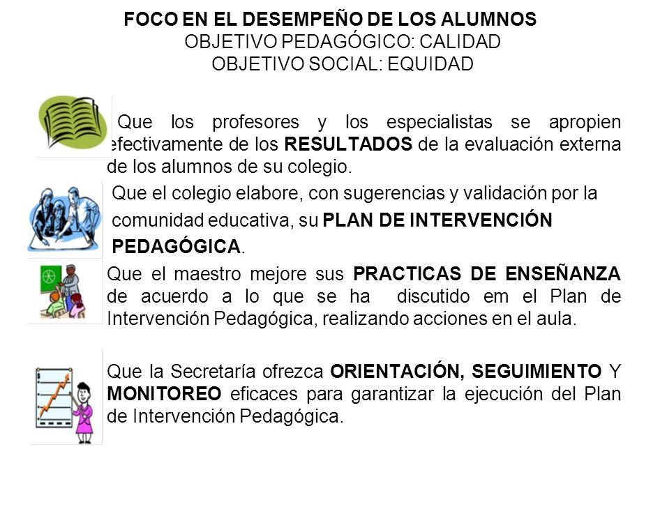 FOCO EN EL DESEMPEÑO DE LOS ALUMNOS OBJETIVO PEDAGÓGICO: CALIDAD OBJETIVO SOCIAL: EQUIDAD
