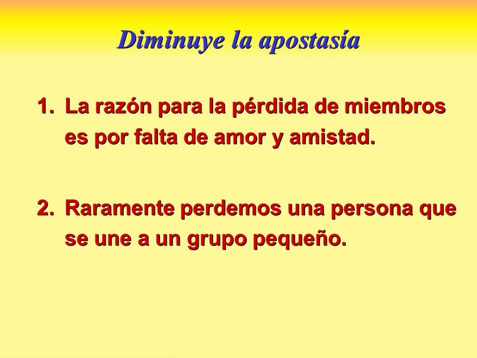 Diminuye la apostasíaLa razón para la pérdida de miembros es por falta de amor y amistad.