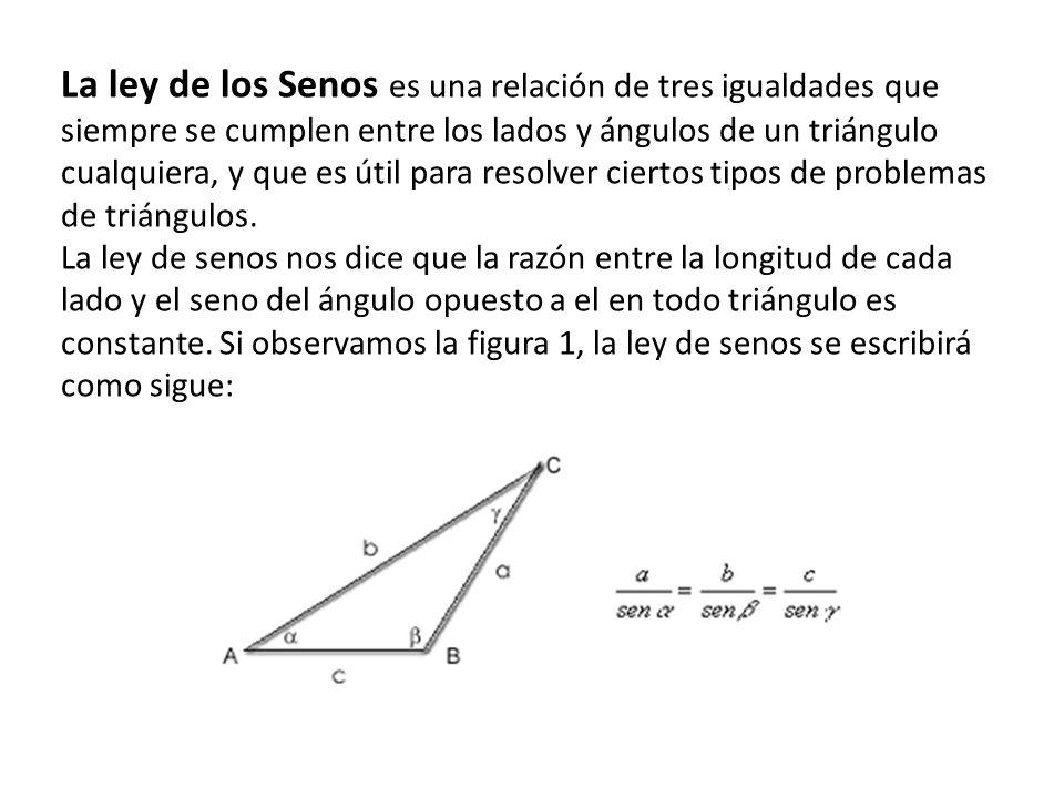La ley de los Senos es una relación de tres igualdades que siempre se cumplen entre los lados y ángulos de un triángulo cualquiera, y que es útil para resolver ciertos tipos de problemas de triángulos.