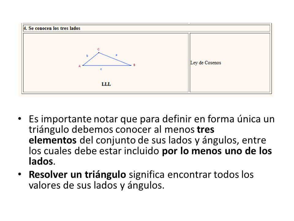 Es importante notar que para definir en forma única un triángulo debemos conocer al menos tres elementos del conjunto de sus lados y ángulos, entre los cuales debe estar incluido por lo menos uno de los lados.
